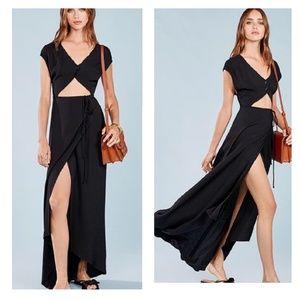 Reformation Vista maxi black cut-out wrap dress